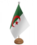 Algeria Desk / Table Flag with wooden stand and base